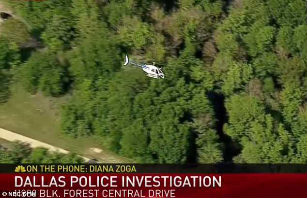 Dallas cops are using a helicopter to search for the shooting suspect, who has now been taken into custody