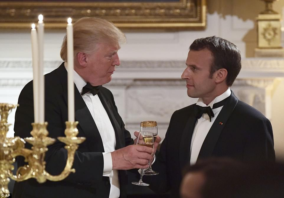 During his state dinner toast, President Trump raised a glass to President Macron saying: 'May our friendship grow even deeper'