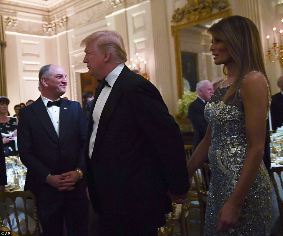 The Trumps held hands as they made their way into the state dinner on Tuesday, which Melaniaplayed a central role in planning