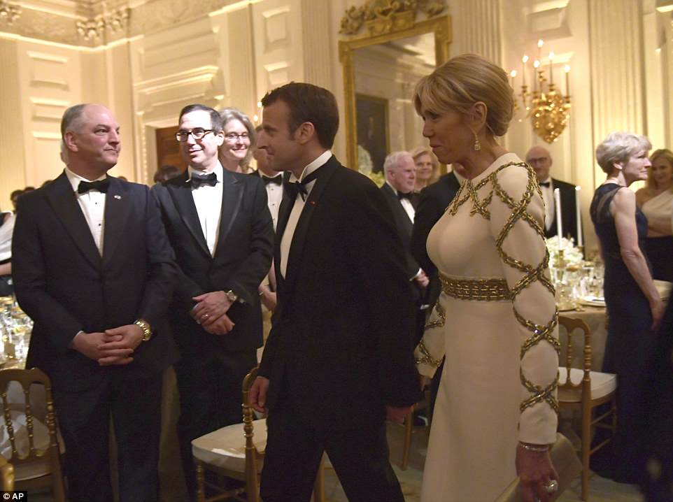 President Macron, above with his wifeBrigette, was honored Tuesday at the first state dinner of the Trump administration