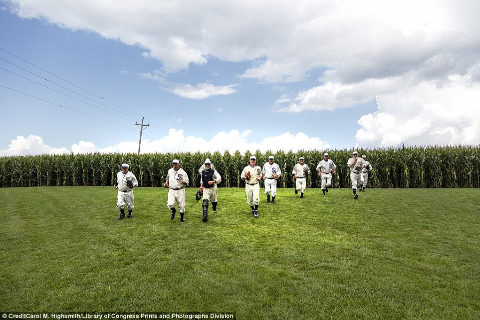 'Ghost players' run to their positions at the original Lansing Farm site in Dyersville, Iowa, where the nostalgic movie Field of Dreams was filmed in 1989