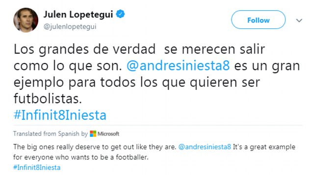 Spain coach Julen Lopetegui called the midfielder a great example for aspiring footballers