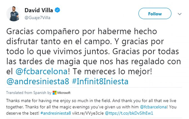 David Villa thanked Iniesta for all that they enjoyed at Barcelona in their time there