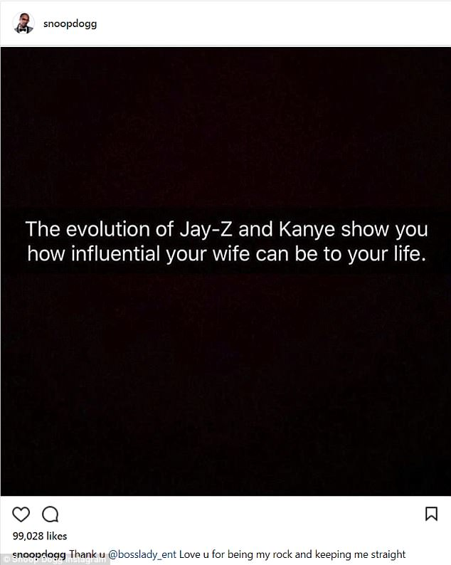 'The evolution of Jay Z and Kanye show how influential your wife can be to your life': Snoop Dogg takes swipe at Kim Kardashian on Twitter