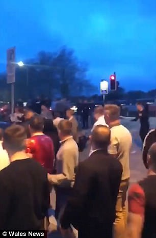 Footage shows a crowd of people screaming as a Blue Ford C Max rams into them outside The Courtyard nightclub in Newport