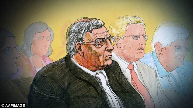 A court sketch of Cardinal George Pell at the Melbourne Magistrates Court