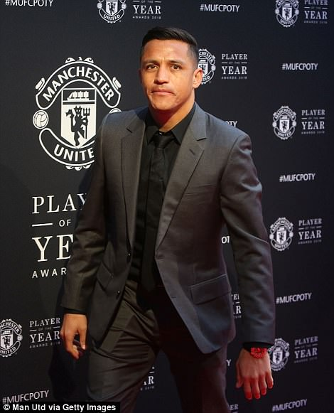 Alexis Sanchez arrives at Old Trafford for Manchester United's end-of-season awards