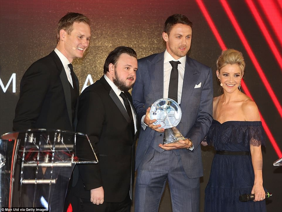 Nemanja Matic won Goal of the Season for his win against Crystal Palace and was given his award by actor Bradley