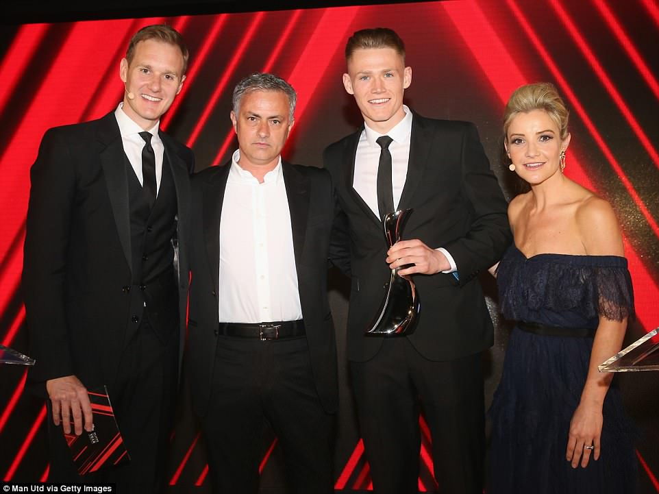 Mourinho posed with 21-year-old Scotland midfielder Scott McTominay after making him theManager's Player of the Year