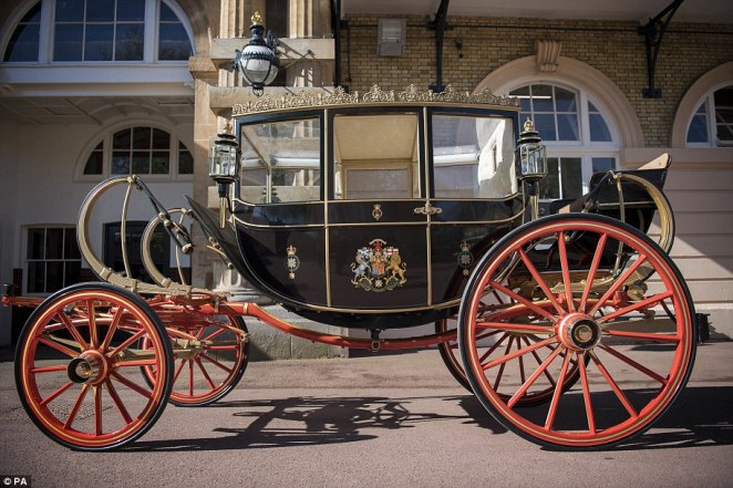 The Scottish State Coach is pictured.Kensington Palace said the couple are 'very much looking forward to this short journey'