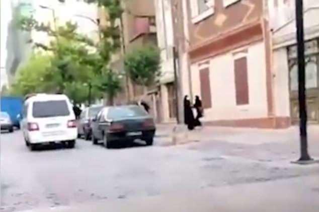 La mujer, que está vestida de negro, se puede ver luchando con una oficial femenina en un hijab
