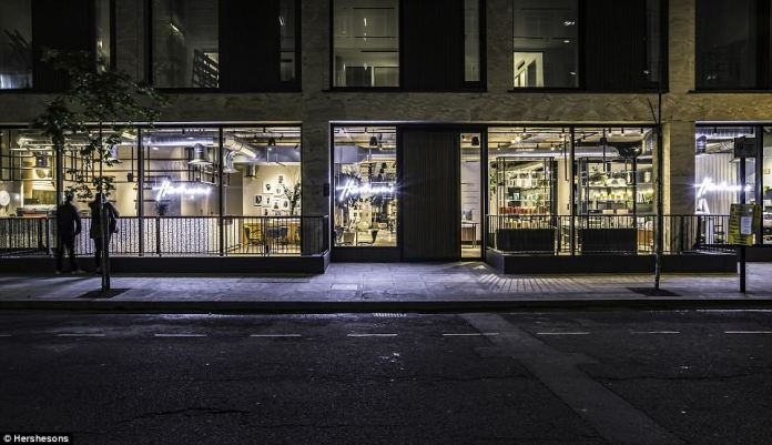 Hershesons as seen from the street. Luke commented: 'This is not a traditional salon – it's a beauty space, a work space and a social space wrapped into one. Customers can pick and mix the services they want according to their needs'