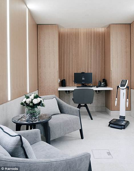 The sprawling clinic at Harrods also houses two personal-training studios for one-to-one training, a private consultation room, and a photography studio featuring a state-of-the art Vectra 3D imaging system