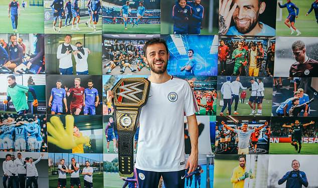 Bernardo Silva was dwarfed by the belt as he wore it before lifting the Premier League title