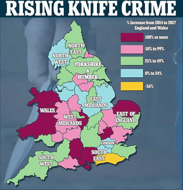 Hertfordshire, Hampshire, Warwickshire, Norfolk and north Wales' rates of knife crime have all increased by more than 100 per cent in the past three years
