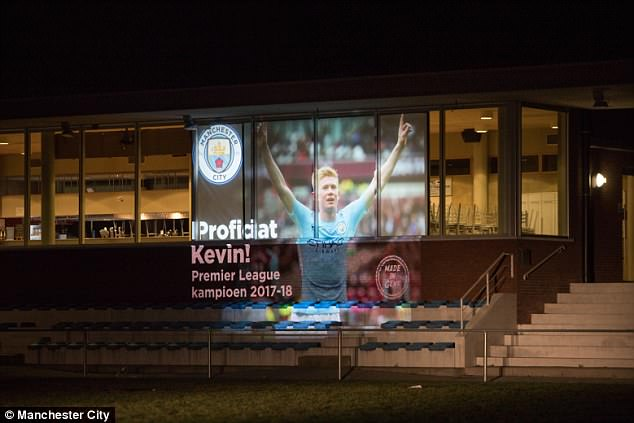 Kevin De Bruyne was displayed at the site of his former team Drogen in Ghent, Belgium