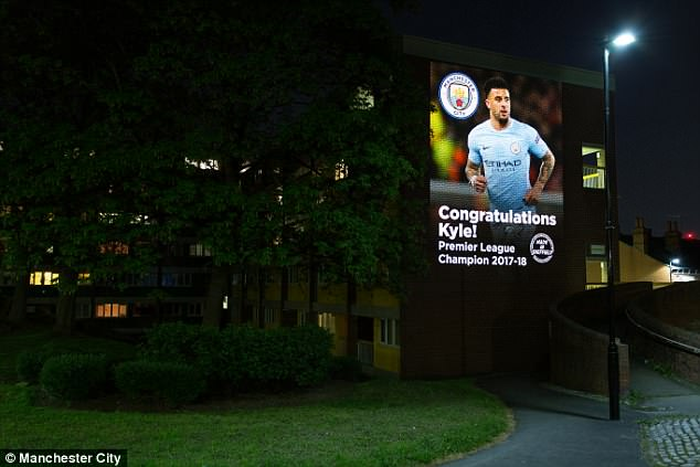Kyle Walker was on the wall of the Lansdowne Estate in Sheffield, where he played as a kid