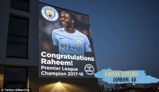 Raheem Sterling was displayed on the side ofCopland Community School in Wembley