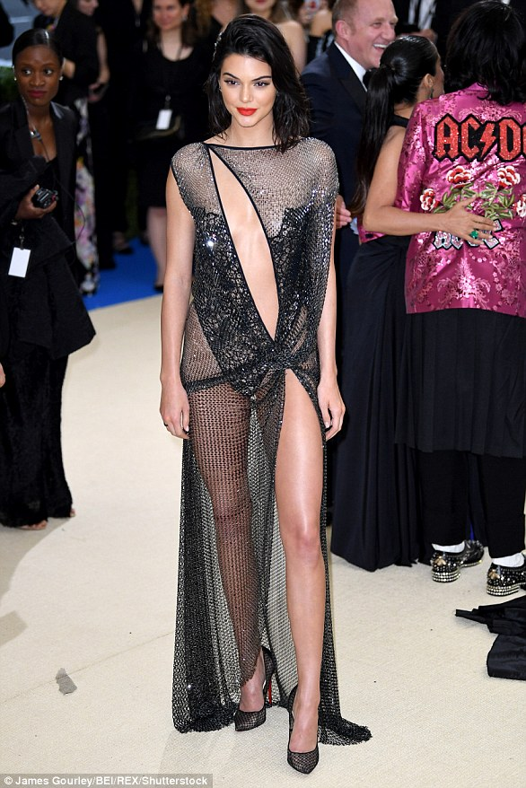 Sheer delight:Kendall Jenner's sizzling sheer La Perla number was met with a luke warm response, alongside a host of other stars, as many were accused of missing the point of the tribute to the boundary-breaking designer