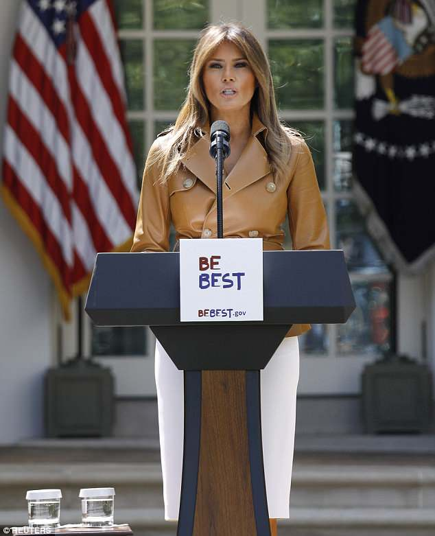 Melania Trump launched her 'Be Best' initiative in the Rose Garden at the White House on Monday afternoon