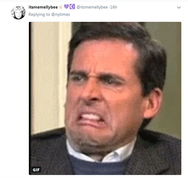 Speechless: One woman simply posted a gif of Steve Carell's horrified fact to express her disdain