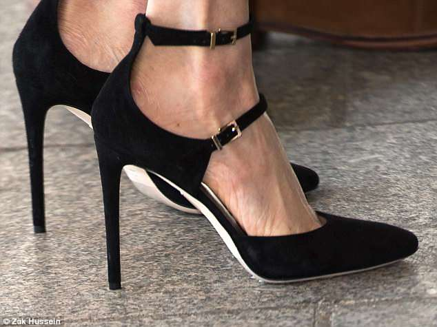 Buckle my shoe: £350 Paramour heels by Tamara Mellon for the Commonwealth Youth Forum in London last month