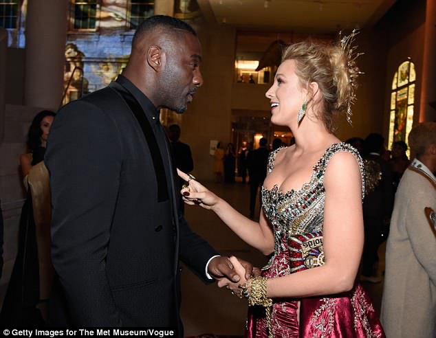 Hello stranger! Actor Idris Elba caught up with Blake Lively who went solo for the evening