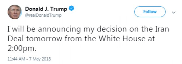 The President tweeted that he is due to make his decision later today