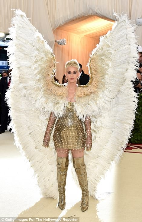Katy Perry - who met Pope Francis on April 28 - also drew a lot of attention by coming dressed as an angel, complete with huge feathered wings