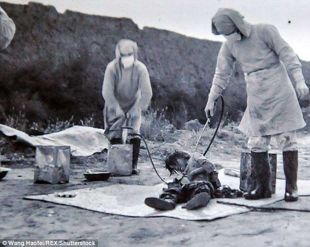 War crimes: A human 'subject', seemingly a young Chinese civilian, is subjected to an unknown form of bacteriological test  at Unit 731,  built to conduct research into germ warfare, weapons capabilities and the limits of the human body