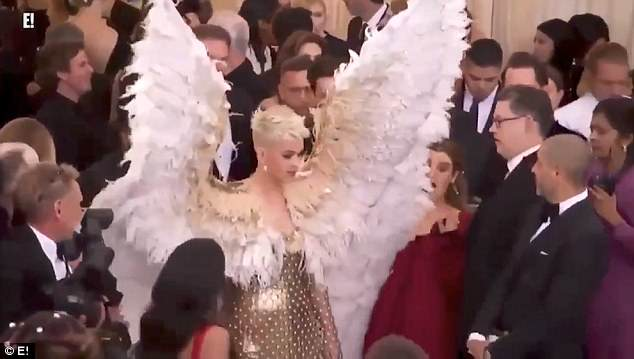 Meanwhile, Katy Perry almost took out her assistant with her extravagant six-foot angel wings