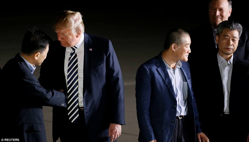 Trump called the prisoners 'wonderful people' and thanked Kim Jong-un for letting them come home ahead of the Trump-Kim summit
