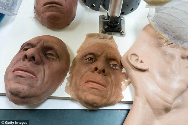 Face moulds for robots being built at Engineered Arts are pictured at the company's headquarters
