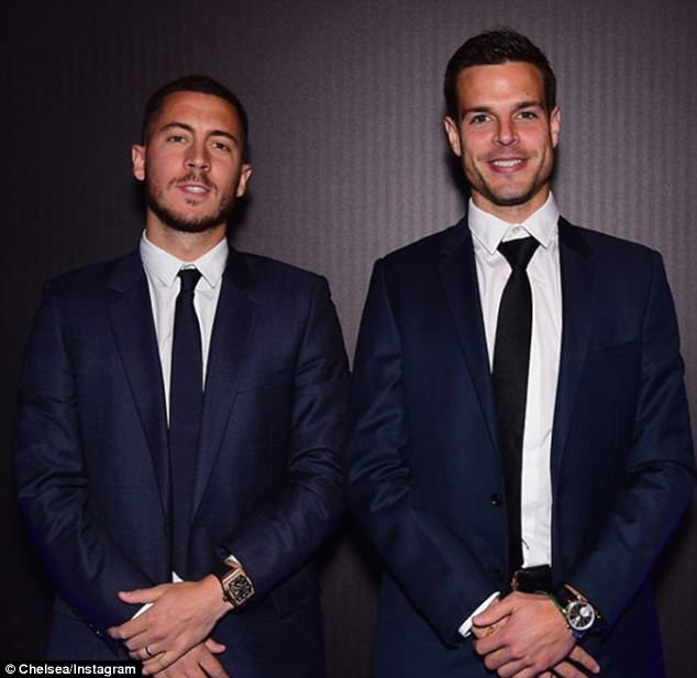 Eden Hazard (left) and Cesar Azpilicueta (right) look dapper as they pose for a photo