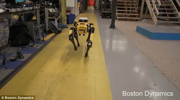 In the firm's previous video, the robot is shown walking out of the firm's HQ and into what appears to be a home. This image shows it inside the office