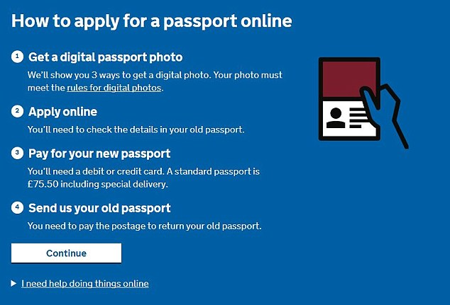 The cost of an online application is £25 cheaper than the Post Office check and send service