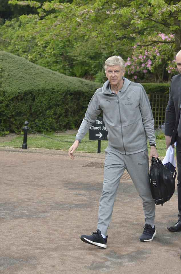 Wenger looked happy and relaxed as he prepared for his final game as Arsenal boss