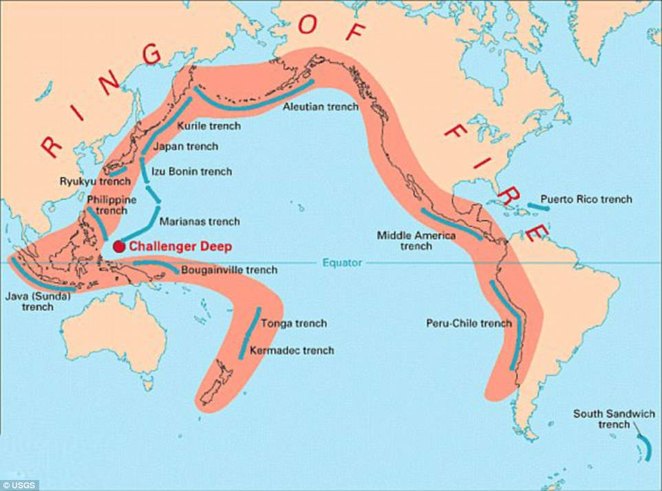 The Pacific Ring of Fire forms a horseshoe-shaped belt bridging volcanoes in South America, North America, eastern Asia, Australia and New Zealand