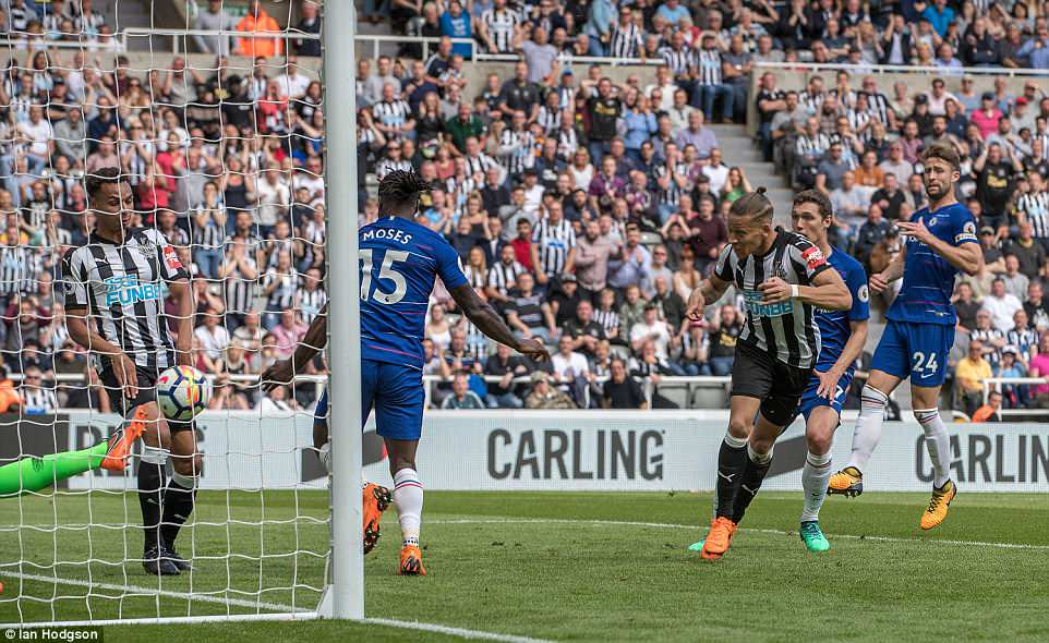 Gayle was quickest to react after Chelsea goalkeeper Thibaut Courtois palmed the ball off of his line and finished easily