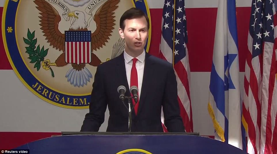 Ivanka Trump's husband Jared Kushner was among the speakers as the embassy was officially opened this afternoon
