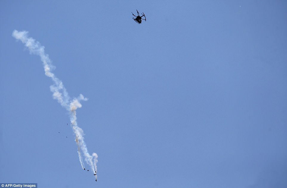 Witnesses said Israeli drones had also dropped incendiary materials earlier in the day, setting ablaze tyres that had been collected for use in a planned Gaza border protest.