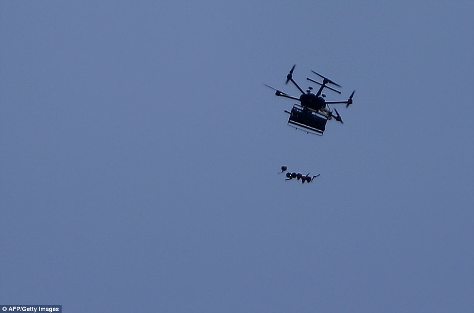 The drone could be seen releasing gas canisters during clashes between Palestinians and Israeli forces near the border between Israel and the Gaza strip, east of Jabalia
