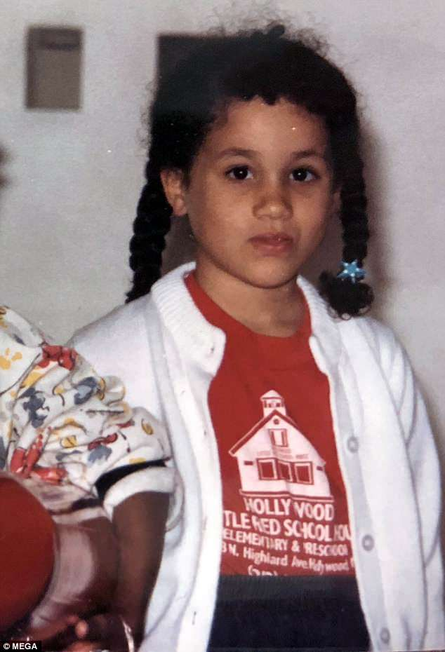 Looking back: Meghan, who is pictured at  friend's house when she was five years old, lived with her mother, Doria Ragland, in a small two-bedroom, two-bathroom apartment in LA