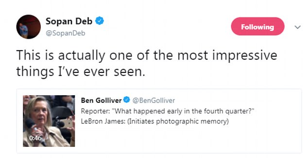 James' incredible recount caught the attention of many reporters and fans on Twitter, with one user calling him 'a basketball rain man'