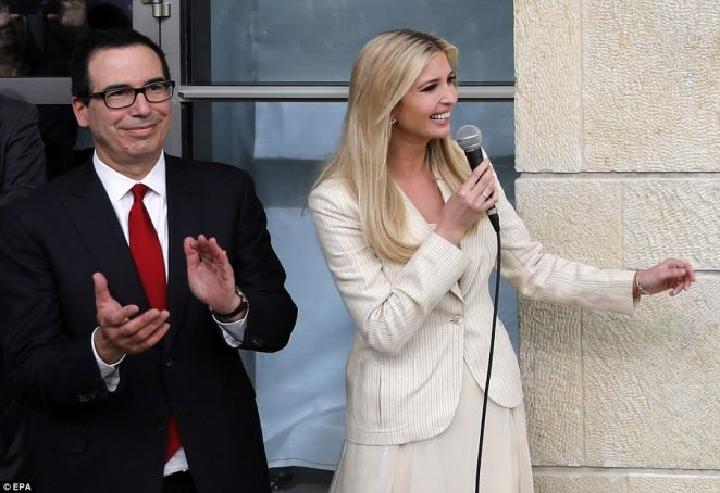 The day of bloodshed came as America opened its new embassy in Jerusalem, months after US President Donald Trump recognised the city as Israel's capital. Trump's daughter Ivanka is pictured at the ceremony alongside US Treasury Secretary Steven Mnuchin