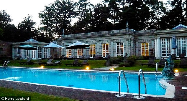 The pool is pictured today at the Cliveden House Hotel, on the National Trust's Cliveden Estate, where Meghan will stay