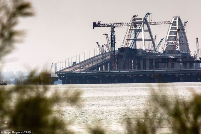 A distant view of Kerch Strait Bridge. The Russian leader claimed it is 'a unique structure not just for our country but I think that in the whole world there are few similar'