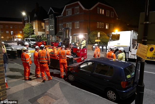 Teams worked overnight to install the extra safety measures before tens of thousands of people descend on the town on Saturday