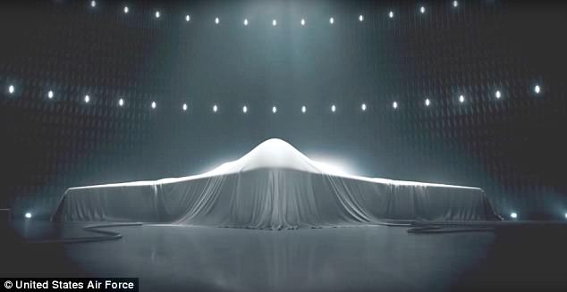 The promotional video appears to be imitating a previous advert by the US Air Force for the Northrop Grumman B-21 plane (pictured)