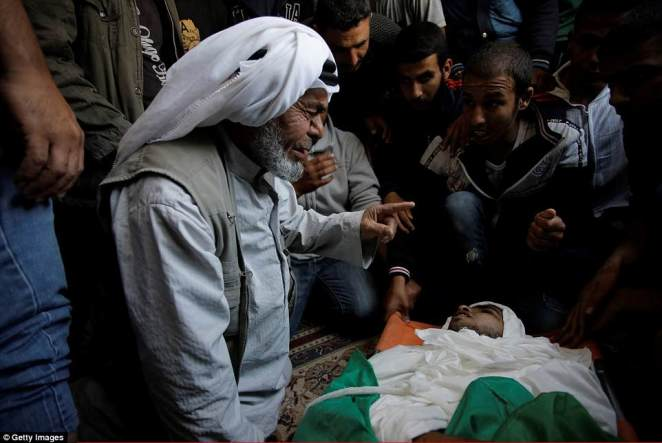 The death toll rose to 60 overnight after an eight-month-old baby died from tear gas that her family said she inhaled at a protest camp on Monday. More than 2,200 Palestinians were also injured by gunfire or tear gas